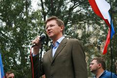 Politician Nikolay Ryzhkov at the rally of Russian democratic opposition on the Stock Photos