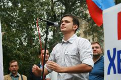 Stock Photo of Politician Ilya Yashin at the rally of Russian democratic opposition on the