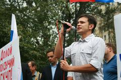 Politician Ilya Yashin at the rally of Russian democratic opposition on the - stock photo
