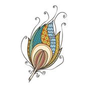 Stock Illustration of Ornate intricate feather. Doodle. Zentangle