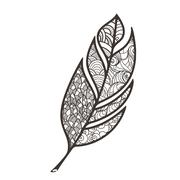 Ornate intricate feather. Doodle. Zentangle - stock illustration