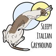 Illustration of a sleeping Italian greyhound Stock Illustration