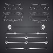A diverse collection of vector dividers, bumpers, frames, ornaments - stock illustration