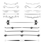 A diverse collection of vector dividers, bumpers, frames, ornaments Stock Illustration