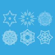 Stock Illustration of Set of monochrome flower mandala on a contrasting background. Snowflake