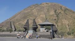 Pura Luhur Poten temple and Batok volcano,Bromo,Java,Indonesia Stock Footage