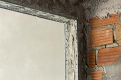 Structure cement door in industry construction site Stock Photos
