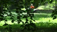 Park worker man in orange waistcoat riding tractor cut lawn. 4K Stock Footage