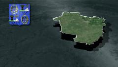 Hajdu-Bihar with Coat of arms animation map Stock Footage