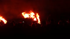 Beltane Festival.Pagan rituals and dancers around the fire.Smartphones - stock footage