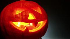 Jack lantern carved pumpkin halloween - stock footage