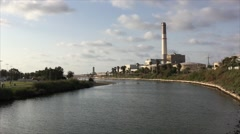 View of the Yarkon stream and Riding powerplant Stock Footage