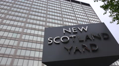 An establishing shot of Scotland Yard, London, England. Stock Footage