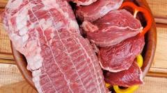 Meat on wood Stock Footage