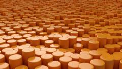 Moving surface made from orange cylinders. Stock Footage