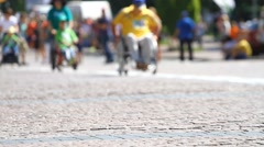 Disabled athlete with the wheelchair in blurred Stock Footage