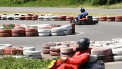 Race karting on a track Stock Footage