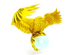 Stock Illustration of Golden owl figure and magical ball