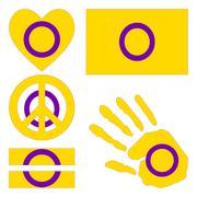 Intersex pride design elements. - stock illustration