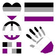 Asexual pride design elements. - stock illustration