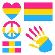 Stock Illustration of Pansexual pride design elements.
