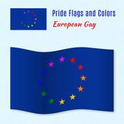 European gay pride flag with correct color scheme - stock illustration