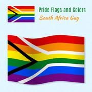 Gay pride flag of South Africa with correct color scheme - stock illustration