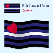 Leather pride flag with correct color scheme - stock illustration
