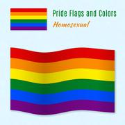 Stock Illustration of Six-color rainbow gay pride flag with correct color scheme.