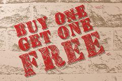 Handmade vector vintage sale sign banner on grunge brick wall. - stock illustration