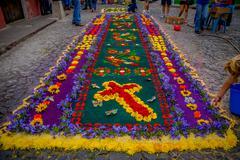 Easter carpets in antigua guatemala Stock Photos