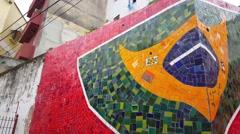 Brasil flag 2010 in Rio de janeiro Brazil Stock Footage