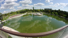 View From Bridge Of A Park On A Beautiful Summer Day Stock Footage