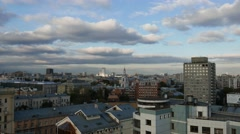 Establishing shot. Moscow, Zemlyanoy val, Garden Ring road Stock Footage