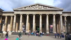 An establishing shot of the British Museum in London, England. Stock Footage