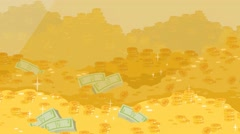 Video cartoon drawn by a color, money coins with paper money, gold glitters Stock Footage