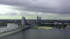 Cable-Stayed Bridge In Riga, From Above HD Stock Footage