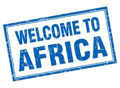 Africa blue square grunge welcome isolated stamp Stock Illustration