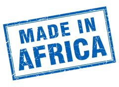 Africa blue square grunge made in stamp - stock illustration