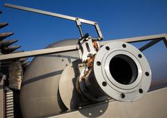 Wine Factory Aluminum Barrels - stock photo