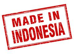 Indonesia red square grunge made in stamp Stock Illustration