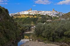 Stock Photo of White Town or Pueblo Blanco Arcos de la Frontera above Rio Guadalete Andalucia