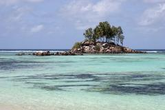 Tree growth on small granite island in turquoise waters of Anse Royal Mahe - stock photo