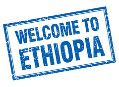 Ethiopia blue square grunge welcome isolated stamp - stock illustration