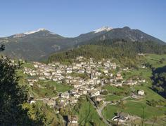 View to the village Truden Trodena Trentino Alto Adige Province of South Tyrol - stock photo