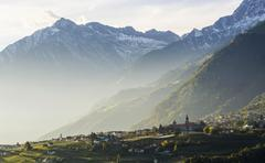 View to the village Tirol Scena TrentinoAlto Adige Province of South Tyrol Stock Photos