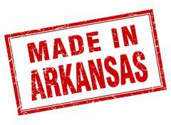 Arkansas red square grunge made in stamp - stock illustration