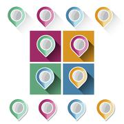 Colorful navigation markers with long shadow - stock illustration
