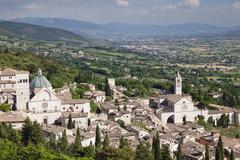 View over city Cathedral of San Rufino and Church of Santa Chiara Assisi Stock Photos