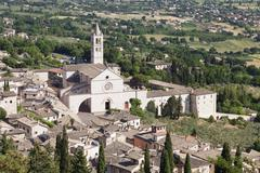 Basilica Santa Chiara Assisi Province of Perugia Umbria Italy Europe - stock photo